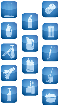icons illustrating the many domestic cleaning jobs Cleanhome cleaners undertake